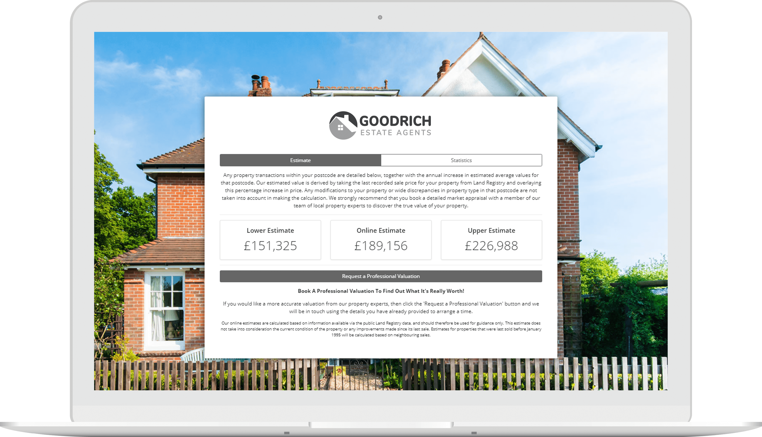Laptop showing Goodrich Estates webpage