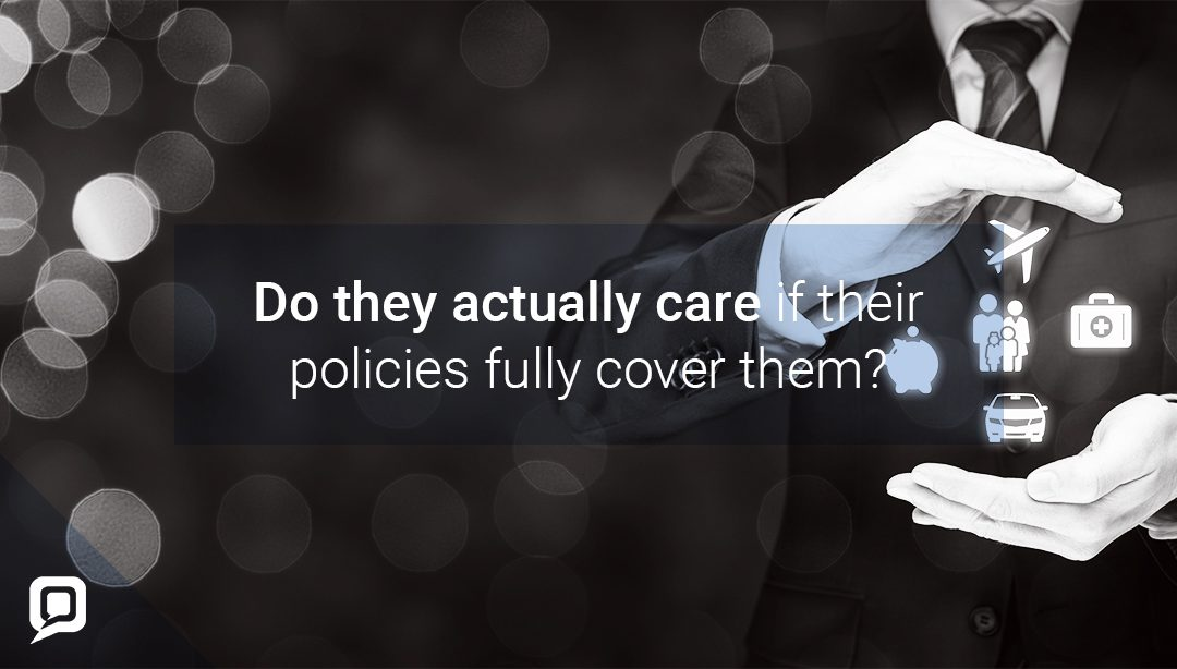 Black and white image of professional man with insurance icons floating between his hands with 'Do they actually care if their policies fully cover them?' written over it
