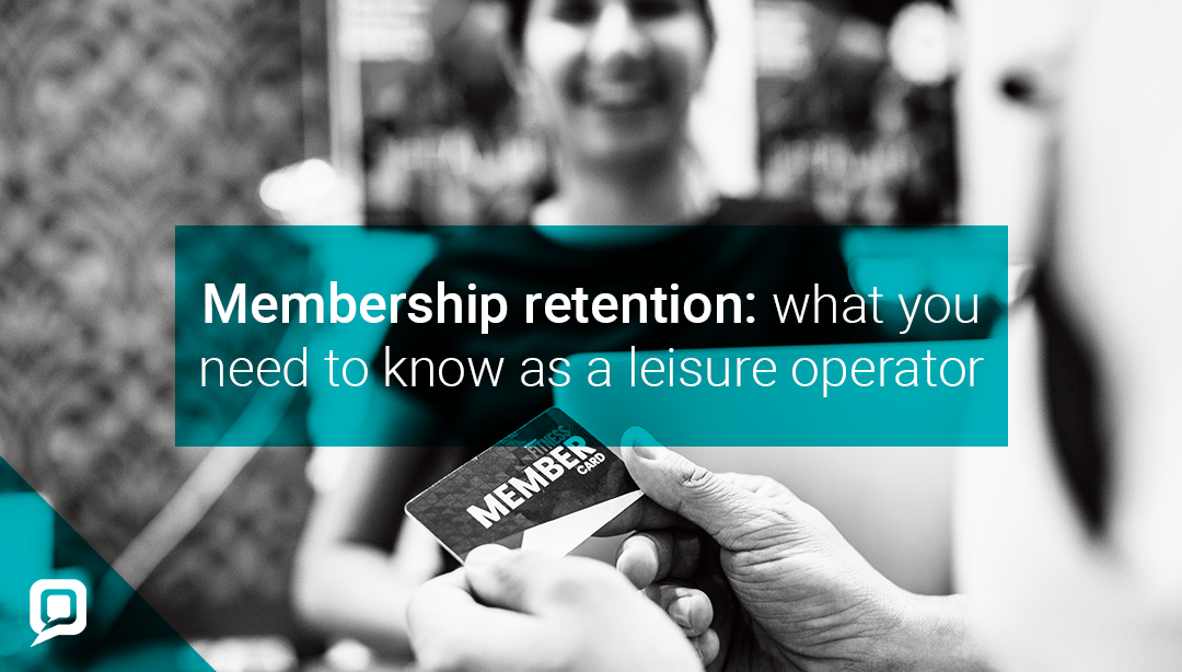 Black and white image of a female gym member and membership card with 'Membership retention: What you need to know as a leisure operator' written on it