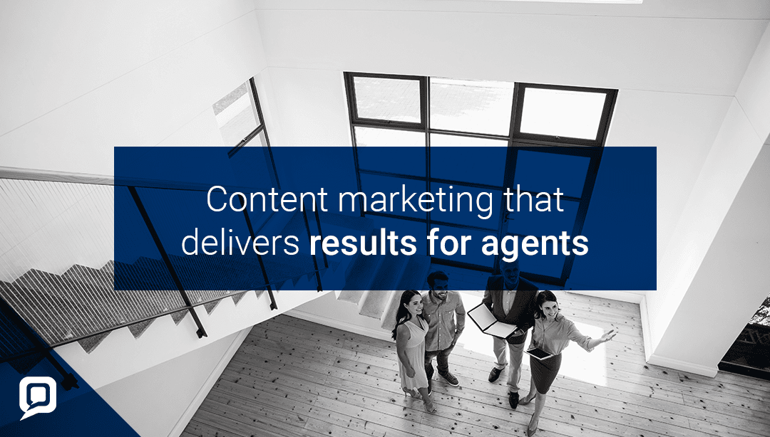 Black and white image of open plan house with staircase and a couple looking around with 'Content marketing that delivers results for agents' written over it